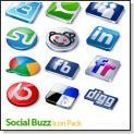 مجموعه ای از آیکون های زیبای شبکه های اجتماعی اینترنتی Social Buzz Icon Pack